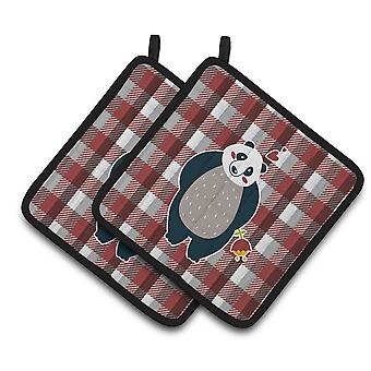 Carolines Treasures  BB6751PTHD Panda Love Pair of Pot Holders