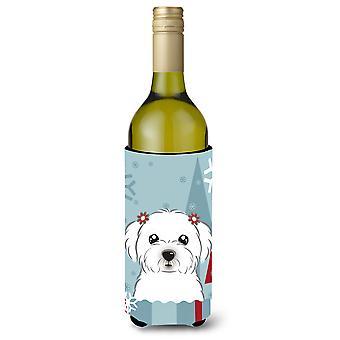 Winter vakantie Maltese wijn fles drank isolator Hugger