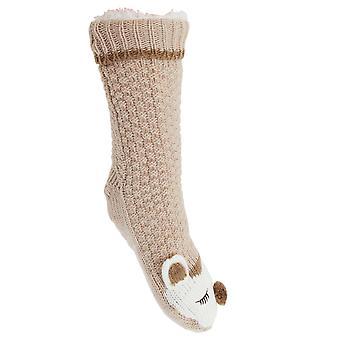 Slumberzz Womens/Ladies Fluffy Grippy Animal Slipper Socks
