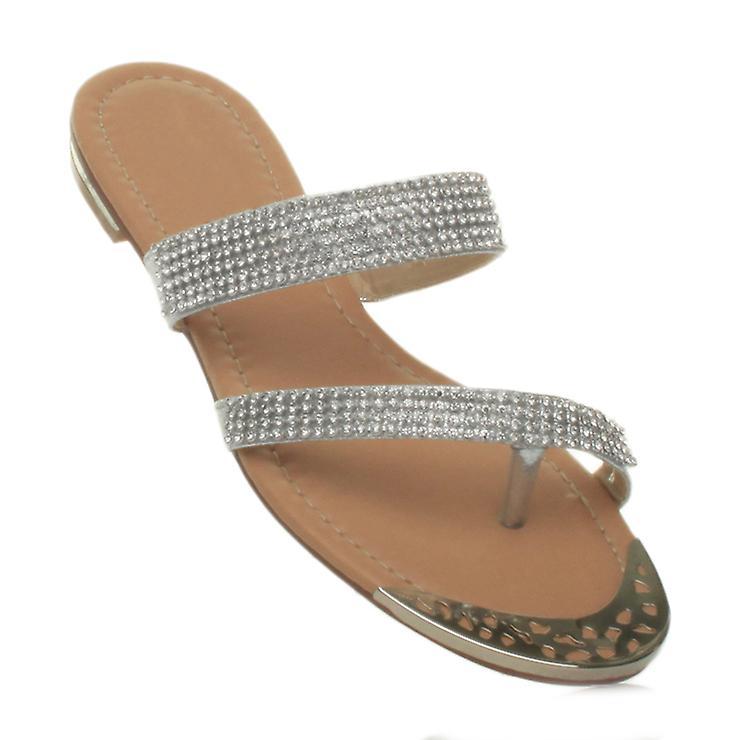 Ajvani womens strappy flat low heel toe post diamante flip flops wedding prom party sandals 9LUxU