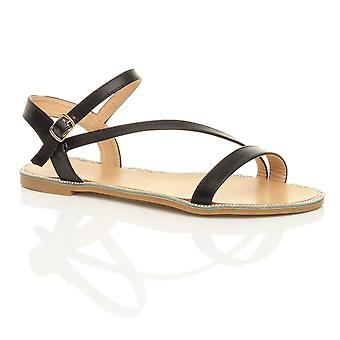 Ajvani kvinners flatt strappy spenne diamante trim sommer kveld sandaler sko