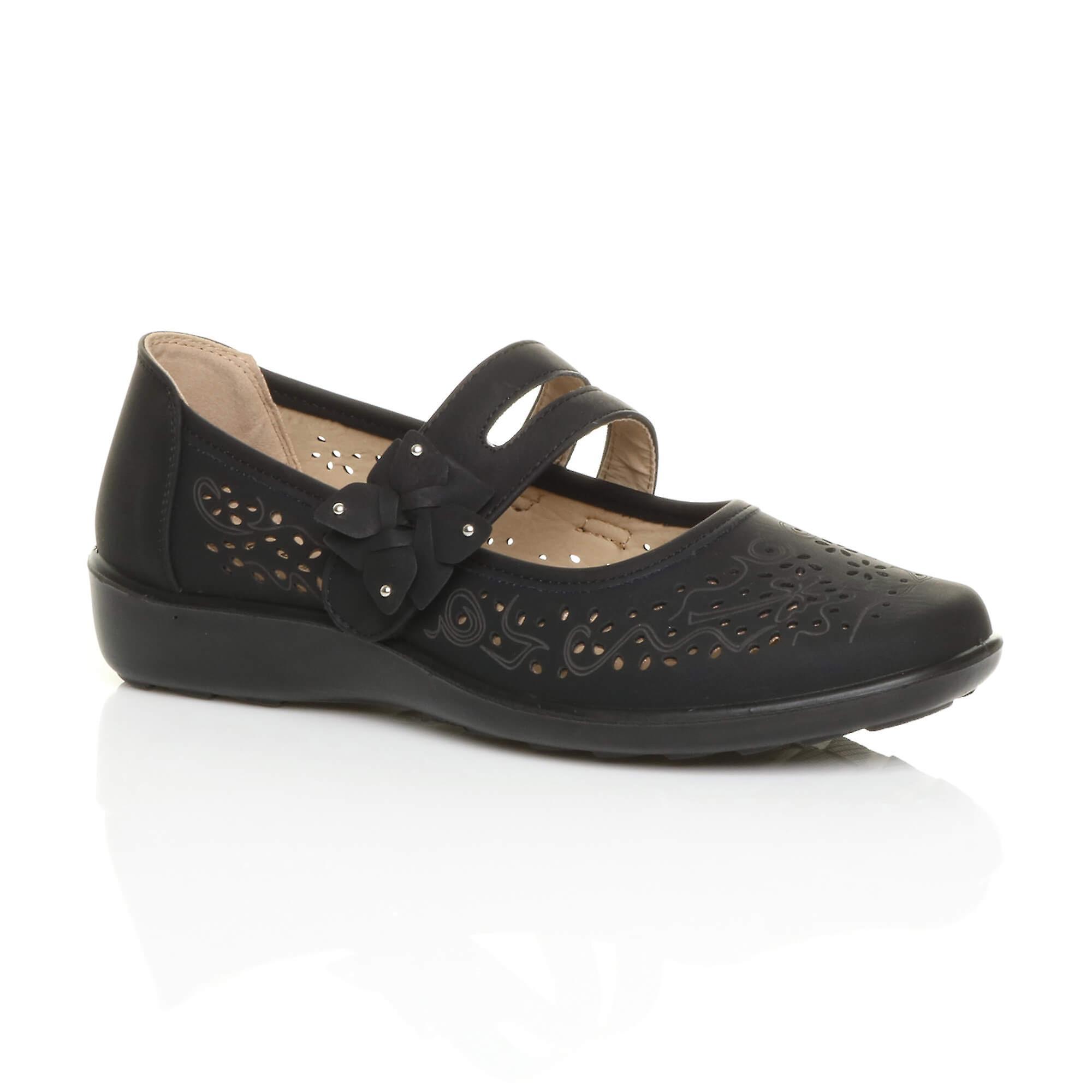 Ajvani womens flat grip sole padded cushioned mary jane hook & loop comfort shoes ZjYXg