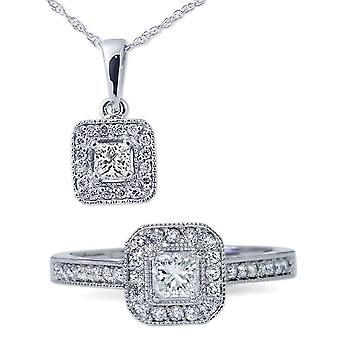 1 ct プリンセス カット ダイヤモンド Halo のリング ・ ペンダント セット 14 K ホワイトゴールド