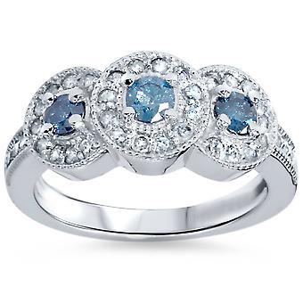 3/4ct Blue & White Diamond 3 Stone Ring 14K White Gold