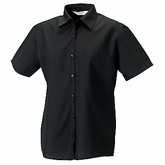 Russell Collection Ladies Short Sleeve Poly Cotton Easycare Poplin Shirt
