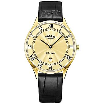 Rotary Mens Ultra Slim Black Leather Strap GS08303/03 Watch