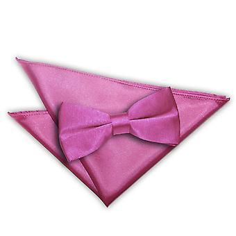 Planície de Mulberry cetim laço & conjunto de bolso quadrado