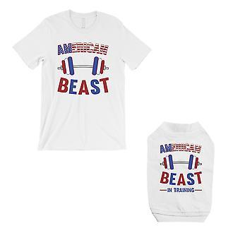 Amerykański bestia szkolenia mały pies i właściciel pasujące białe koszule