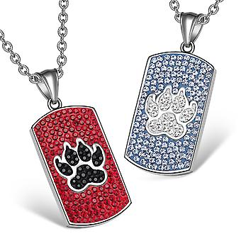 Bestevenner Tag kirsebær røde svart blå hvit halskjeder eller ulv pote østerrikske Crystal kjærlighet par