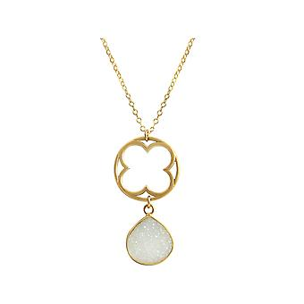 Gemshine necklace pendant CLOVER 925 silver plated DRUZY white quartz