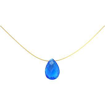 Gemshine halskæde vedhæng forgyldt Topaz kvarts facetteret dråbe blå