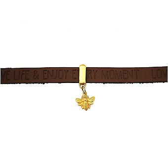 925 prata chapeado - desejos - marrom escuro - fechadura magnética - pulseira - BEE - abelha-