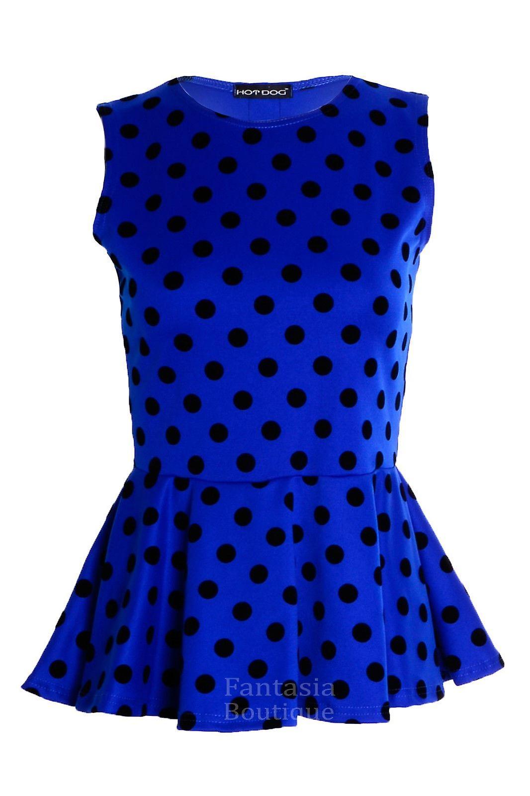 Womens Polka Dot Spot Print Frill Peplum Ladies Sleeveless Skater Vest Top