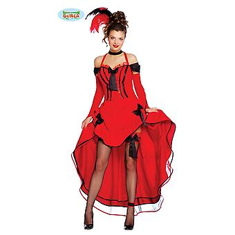 Traje de salão sensual garota das mulheres com vestido em vermelho do oeste selvagem cowboy carnaval