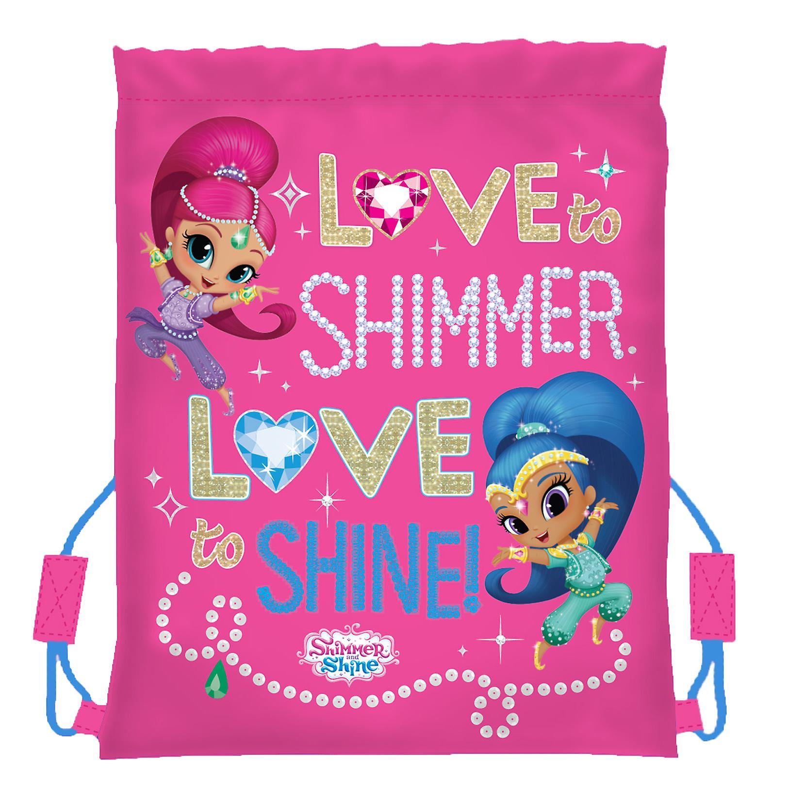 Girls Shimmer Shine pink drawstring kit bag