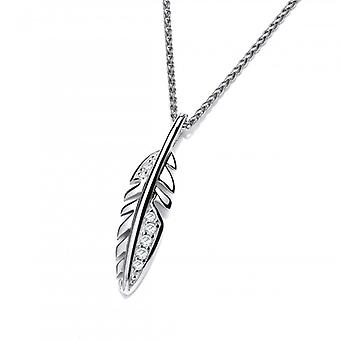 """Cavendish French Cute Silver and CZ Feather Pendant with a 16-18"""" Chain"""