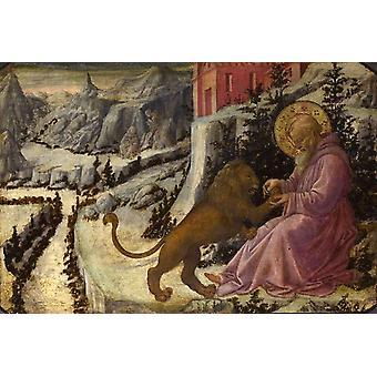 St Jerome and The Lion, fra Filippo Lippi, 60x40cm