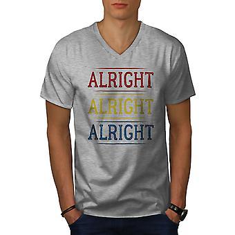 90s Alrigt Quote Men GreyV-Neck T-shirt | Wellcoda