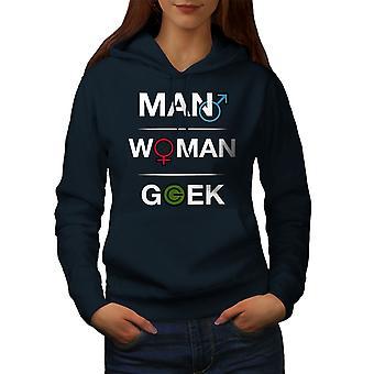 Funny Geek Power Women NavyHoodie | Wellcoda
