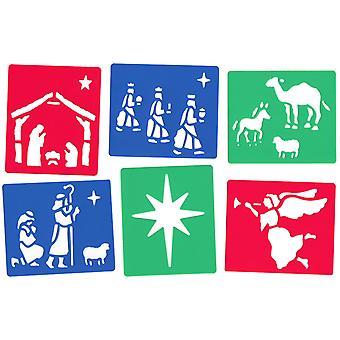 Major Brushes Washable Nativity Stencil Set of 6