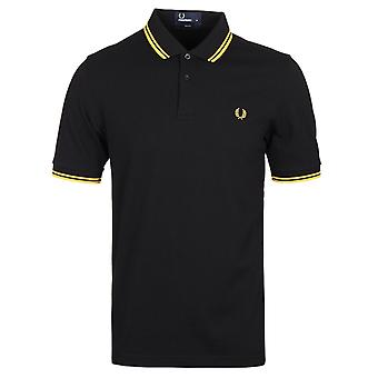 Fred Perry M3600 Black & Bright Yellow Slim Fit Twin Tipped Polo Shirt