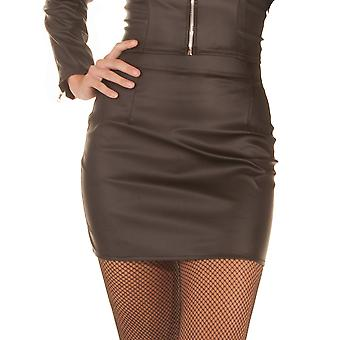 Honour Women's Sexy Skin Tight mini Skirt in Leather Look Black Fetish Wear