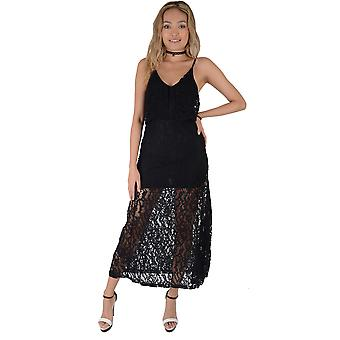 Lovemystyle Black Bodycon Dress With Lace Maxi Overlay - SAMPLE