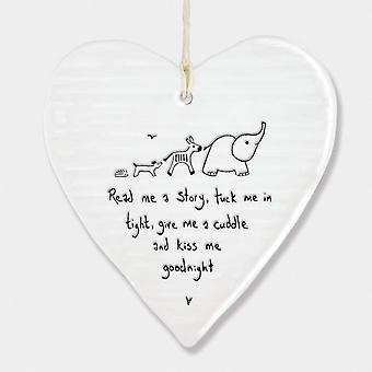 East of India Porcelain Hanging Heart 'Read me a story..' Christening Gift
