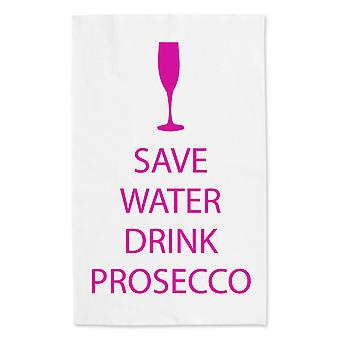 Save Water Drink Prosecco White Tea Towel Pink Text