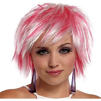 Punkowy bajki Wig białości różowy