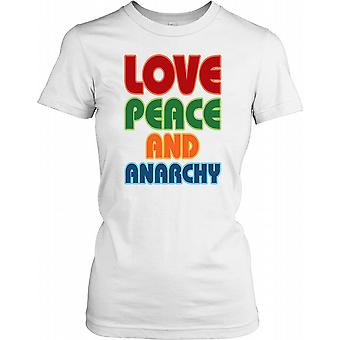 Love Peace and Anarchy Ladies T Shirt