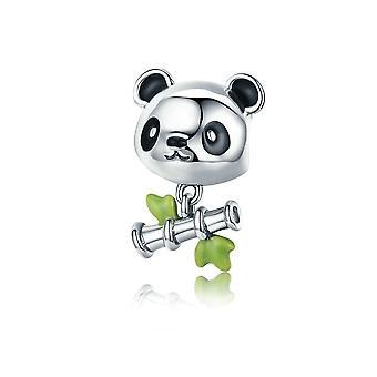 Charms kraal Panda en zilveren bamboe 925 8132