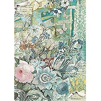 Stamperia Rice Paper A4 Blue Flowers Bouquet (DFSA4272)