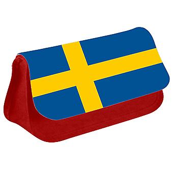 Sweden Flag Printed Design Pencil Case for Stationary/Cosmetic - 0169 (Red) by i-Tronixs