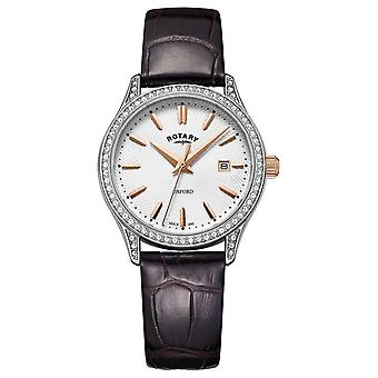 Roterende Womens Oxford Leather Strap RVS Quartz LS05092/02 Watch
