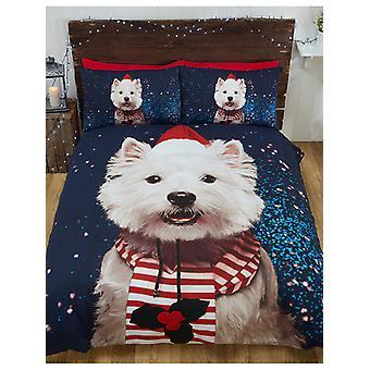 Kerst Westie hond Dekbedovertrek en kussensloop set