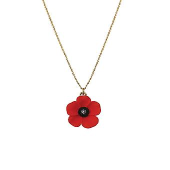 Eternal Collection Poppy Red And Black Enamel Gold Tone Petite Pendant