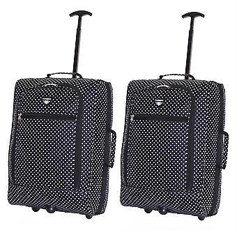Slimbridge Montecorto Satz 2 Kabine Gepäcktaschen, schwarze Punkte (2-er SET)