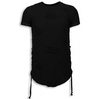 Destroyed Look T-shirt-Ribbon Long Fit Sweatshirt-Black