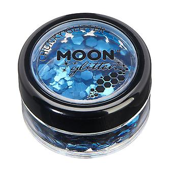 Classic Chunky Glitter by Moon Glitter - 100% Cosmetic Glitter for Face, Body, Nails, Hair and Lips - 3g - Bleu