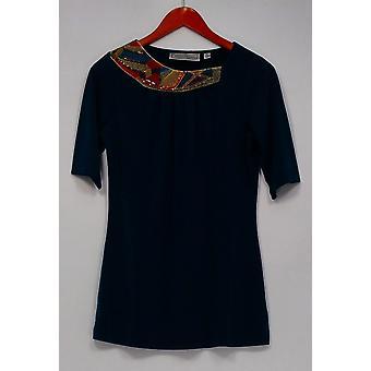George Simonton Top Knit Short w/Embellished Neckline Blue A229337