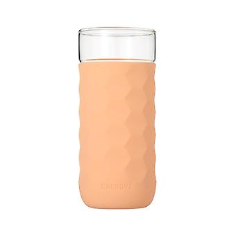 Honeycomb Anti-skid Glass with Silicone Sleeve 380ml in Crimson