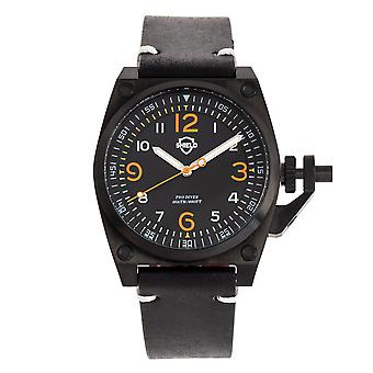 Shield Pascal Leather-Band Men's Diver Watch - Black