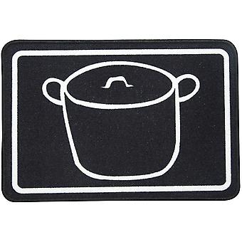 Wellindal Carpet for kitchen pots black 44x65 cm