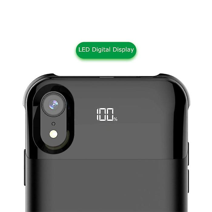 Stuff Certified® iPhone XR 5500mAh Magnetic Powercase Powerbank Charger Battery Cover Case Case Digital Display Black