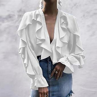 Ruffled  Sexy V Neck Long Sleeve  Casual Blouse