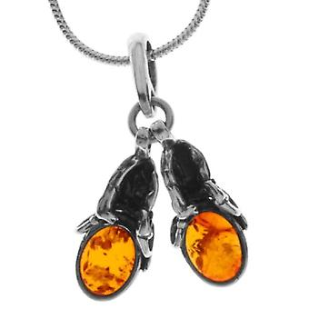 InCollections 241A200280890 - Chain with women's pendant with amber - silver sterling 925