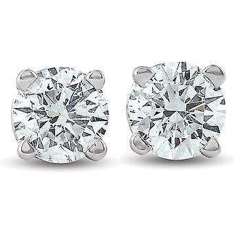 1 / 3ct okrągły diament stadniny kolczyki 14K białe złoto