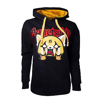Aggretsuko Hoodie Aggretsuko Embroidered Logo new Official Mens Black Pullover