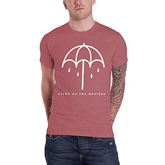 """أحضر لي تناسب ضئيلة """"قميص تي الأفق مظلة الفرقة الشعار الرسمي الأحمر نضوب"""""""